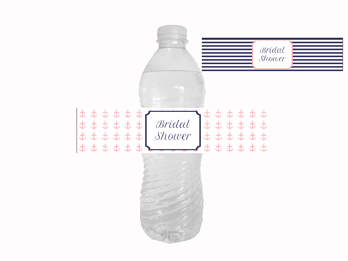 picture regarding Water Bottle Labels Printable known as Nautical Bridal Shower H2o Bottle Labels Printables