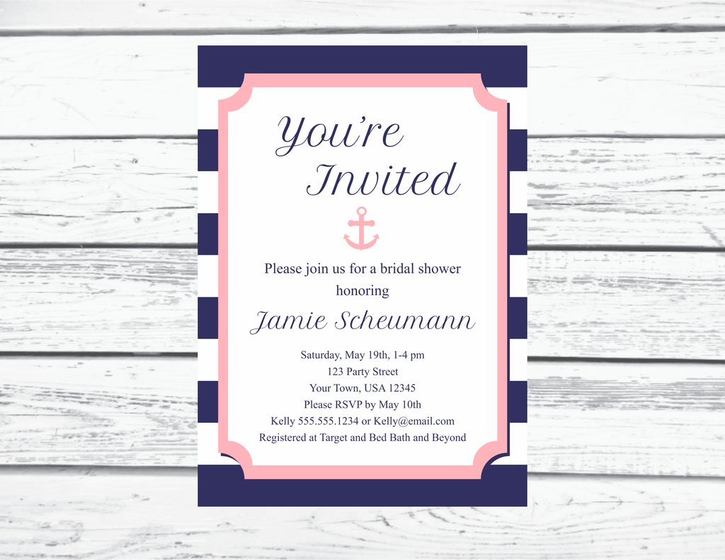 navy and pink nautical bridal shower invitation printable editable invitation
