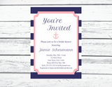 Printable pink and navy nautical bridal shower invitation - Celebrating Together