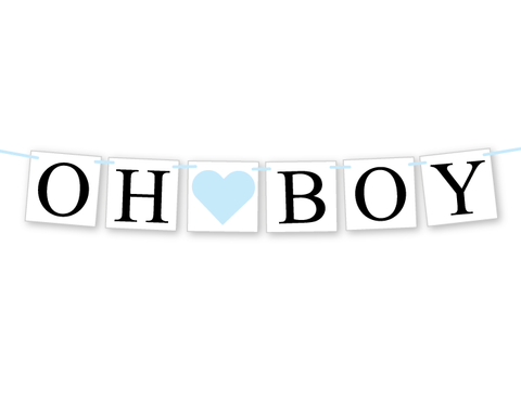 oh boy banner - baby shower decorations - Celebrating Together