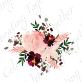 Coral water color flower wedding accent - Celebrating Together