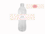 printable pink and gold glitter confetti baby shower water bottle labels - Celebrating Together