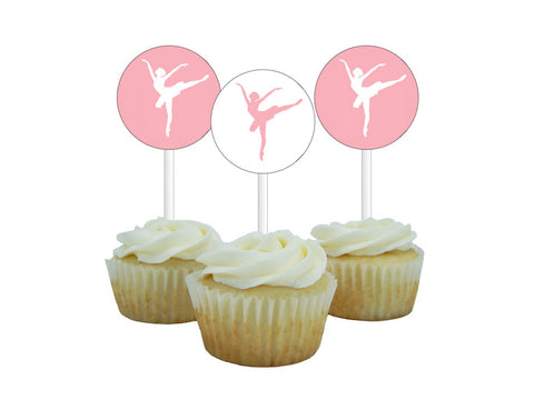 Pink ballet dancer birthday cupcake toppers - Celebrating Together