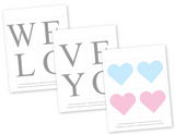 printable lettering for diy we love you and light blue and baby pink hearts - Celebrating Together