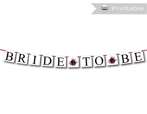 red and burgundy watercolor flower bride to be banner - Celebrating Together