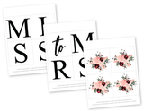 DIY miss to mrs banner template watercolor florals - Celebrating Together