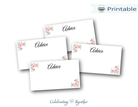 Printable watercolor advice cards - Celebrating Together