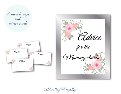 printable advice for the mommy to be sign and printable advice cards for watercolor flower baby shower games - Celebrating Together