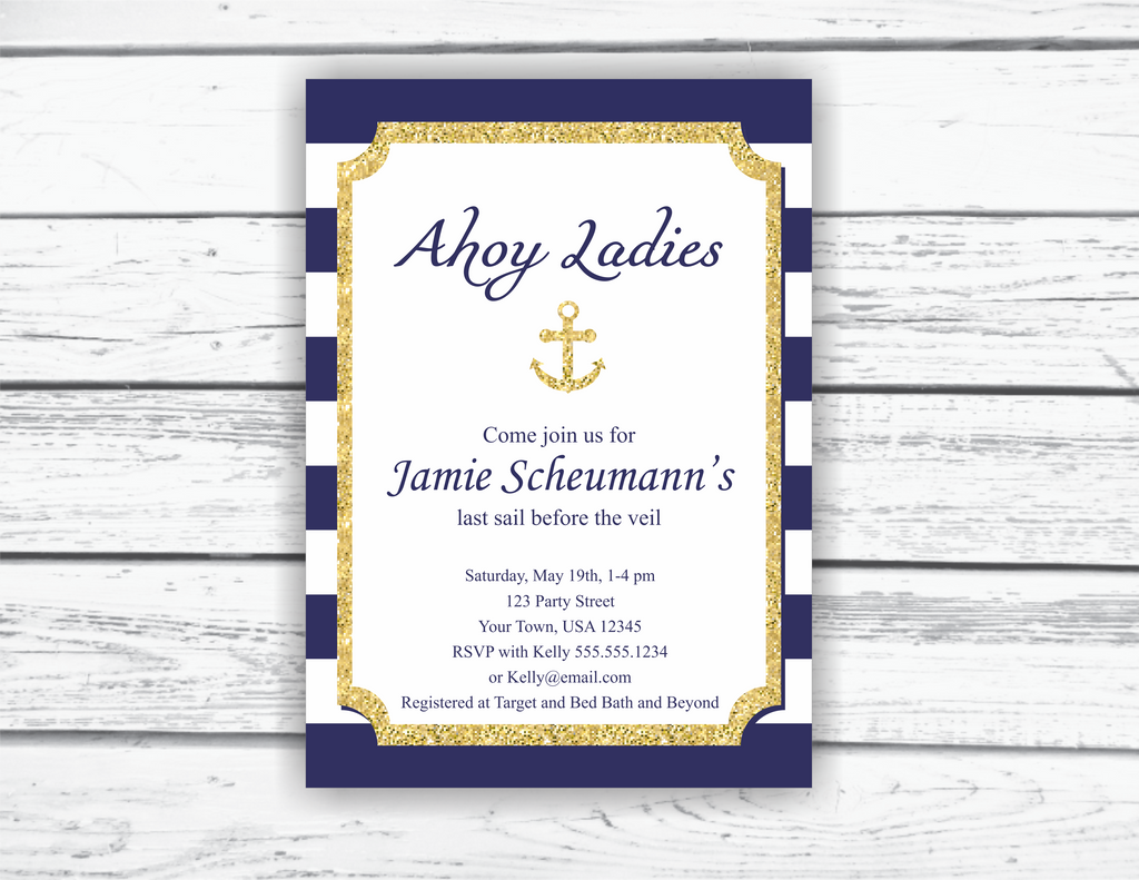 Nautical Wedding Invitations.Navy And Gold Nautical Bridal Shower Invitation Printable Editable Invitation