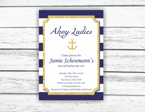 Printable ahoy ladies bridal shower invitation - Celebrating Together