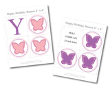 Printable butterflies for girls happy birthday banner - Celebrating Together