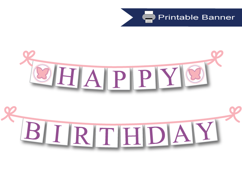 Butterfly pink and purple happy birthday printable banner - Celebrating Together
