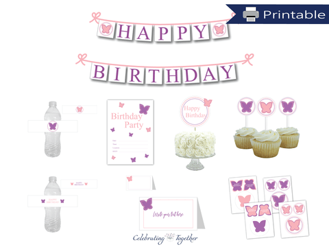 DIY butterfly birthday party decor bundle - Celebrating Together