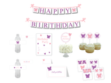 DIY girls butterfly birthday party decor kit - Celebrating Together