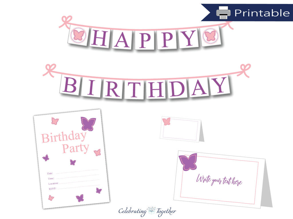 printable butterfly birthday party stationery bundle - Celebrating Together