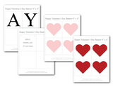 printable hearts and lettering for diy happy valentines day banner template - Celebrating Together