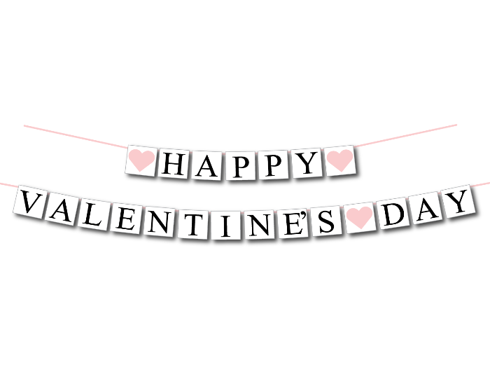 Printable happy valentine's day banner - Celebrating Together