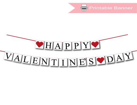 printable happy valentines day banner - Celebrating Together