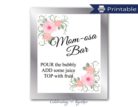 printable momosa bar sign - DIY watercolor flower baby shower decoration for drink station - Celebrating Together