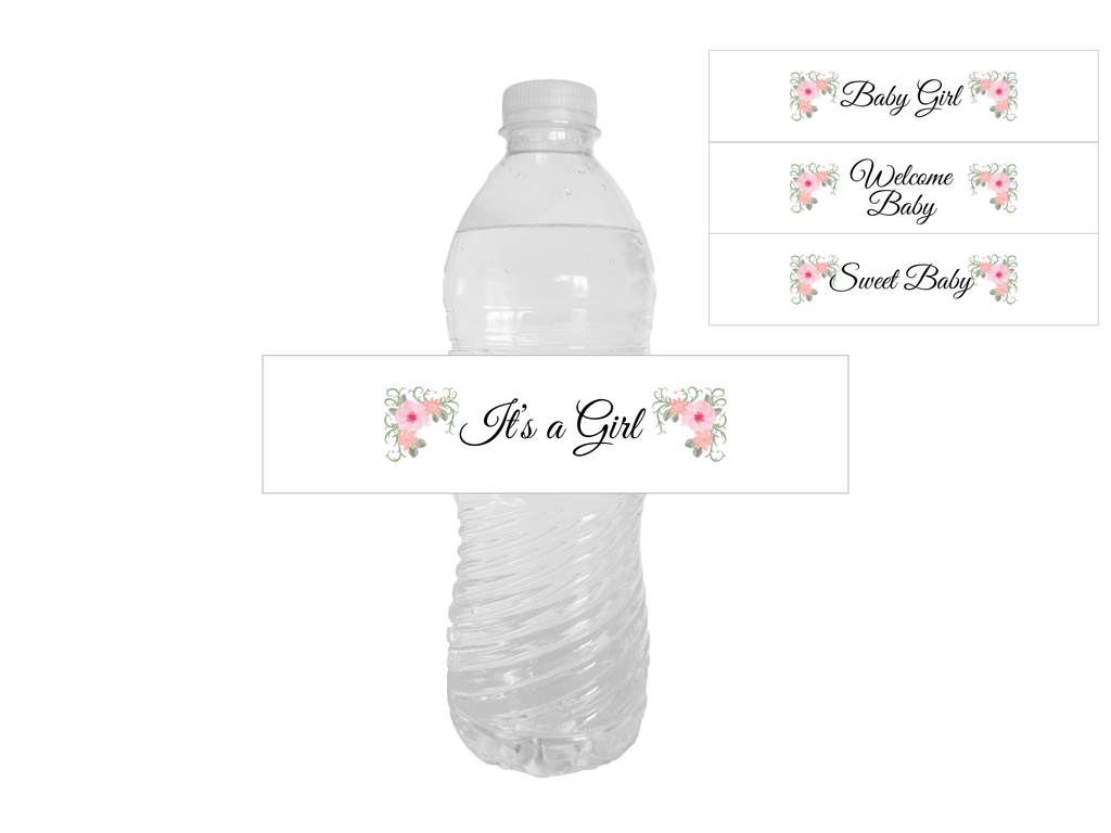 printable baby shower water bottle labels - watercolor flower baby shower decoration - Celebrating Together