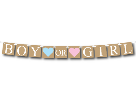 printable rustic boy or girl banner - gender reveal party decor - Celebrating Together