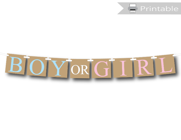 image about Printable Banner titled Rustic Printable Boy or Woman Banner