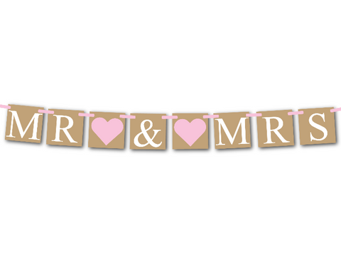printable rustic mr and mrs banner - Celebrating Together