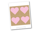 printable pink hearts on kraft - diy wedding decorations - Celebrating Together