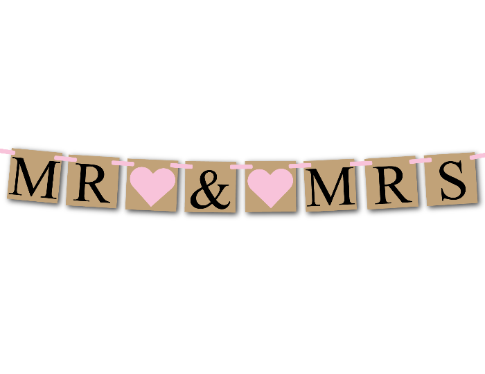printable rustic mr and mrs sign - DIY wedding banner - Celebrating Together