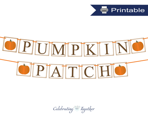 Printable rustic pumpkin patch banner - Celebrating Together
