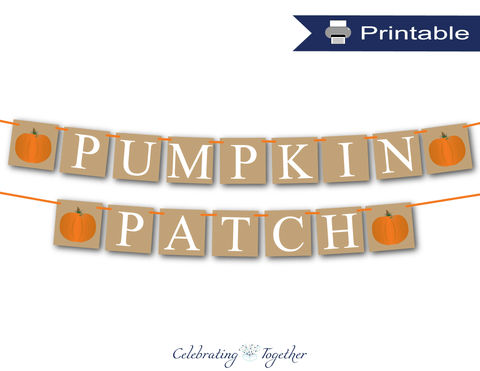 Printable pumpkin patch banner - Celebrating Together