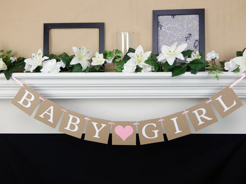 Rustic baby girl baby shower banner - Celebrating Together