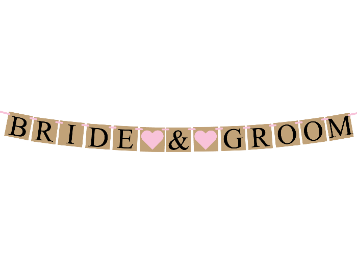printable rustic bride and groom banner template - Celebrating Together