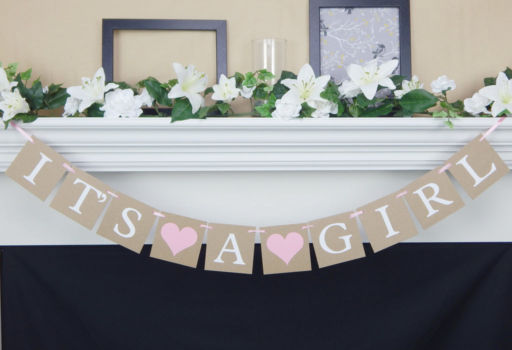 Rustic It's A Girl Banner with pink hearts