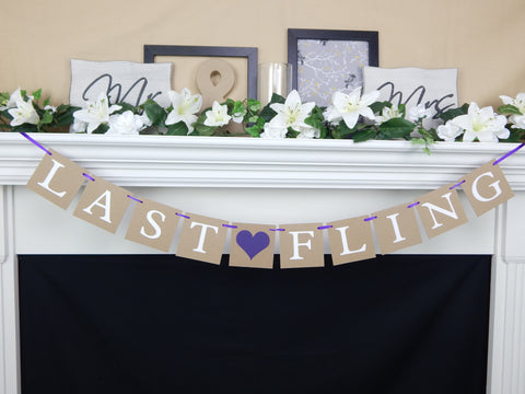 rustic last fling before the ring banner, bachelorette party decoration