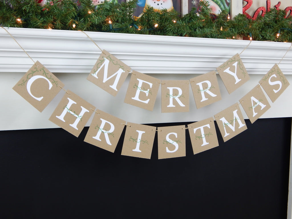 Rustic merry christmas banner - holiday home decor - Celebrating Together