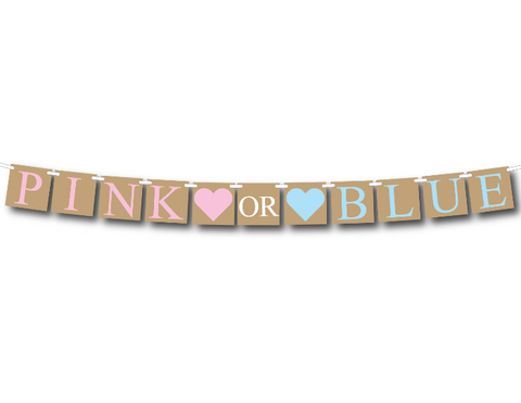 rustic pink or blue banner - gender reveal party decoration - Celebrating Together
