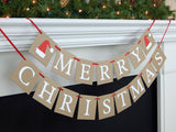 Merry Christmas banner with santa hats - Celebrating Together