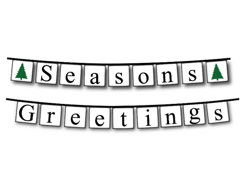 printable seasons greetings banner - diy christmas decorations - Celebrating Together