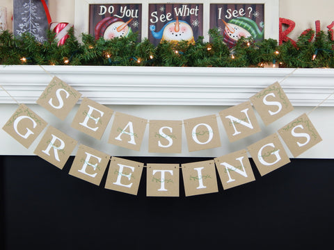 rustic seasons greetings banner - Christmas decorations - Celebrating Together