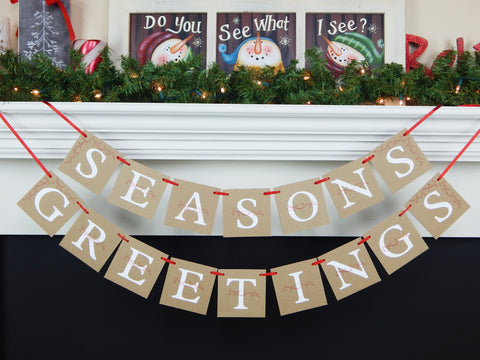 Seasons greeting banner - Rustic Christmas garland - holiday decor - Celebrating Together