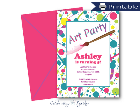 DIY printable splatter print birthday party invitations - editable art party birthday invitations - Celebrating Together
