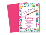printable paint party birthday invites - Celebrating Together