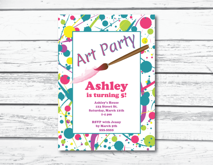 printable art party birthday invitation editable invitation