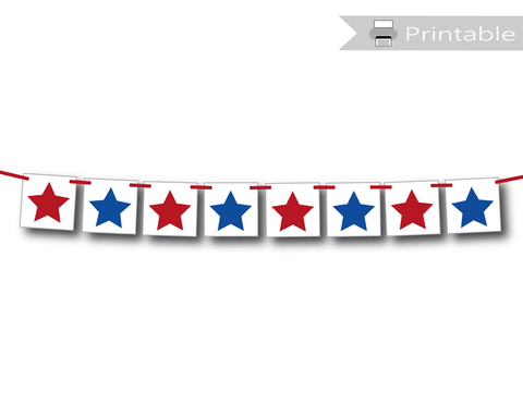 printable star banner - 4th of july decoration - Celebrating Together