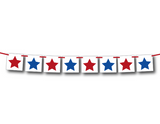 stars banner - red, white and blue 4th of July decoration - Celebrating Together