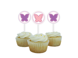 pink and purple butterfly cupcake toppers - Celebrating Together