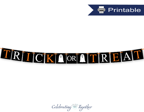 printable ghost trick or treat banner - Celebrating Together