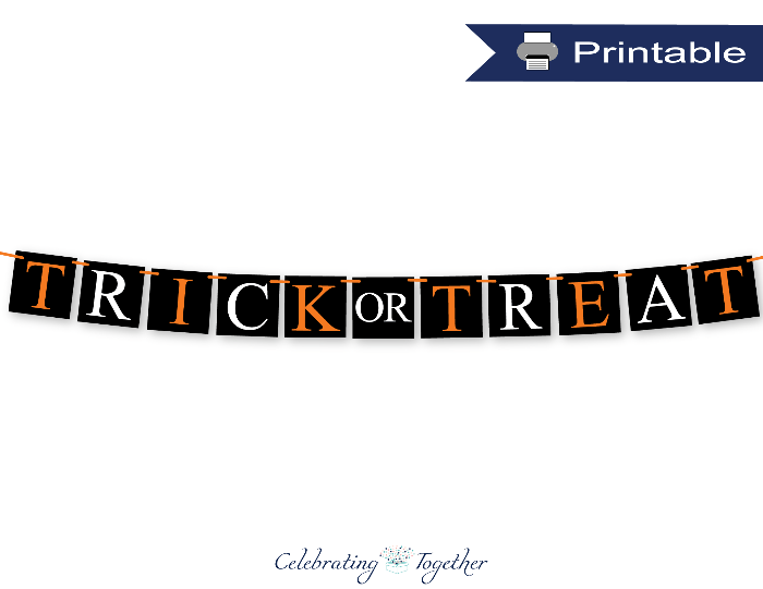printable black trick or treat banner - Celebrating Together