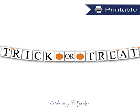 Pumpkin trick or treat banner - Celebrating Together